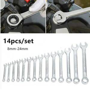 14pc 8 24mm Metric Fixed Head Ratcheting Wrench Combination Spanner Tool Set