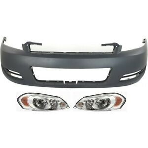 Bumper Cover Kit For 2006 2013 Chevrolet Impala Front 3pc