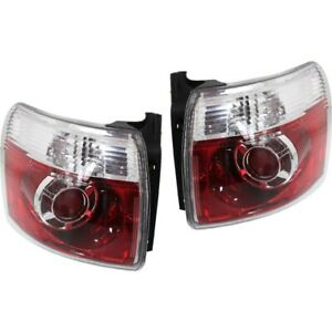 Halogen Tail Light Set For 2007 2012 Gmc Acadia Clear Red Lens W Bulbs 2pcs