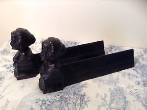 Pair Vintage French Cast Iron Fire Dogs Andirons Roses De Mai 3208