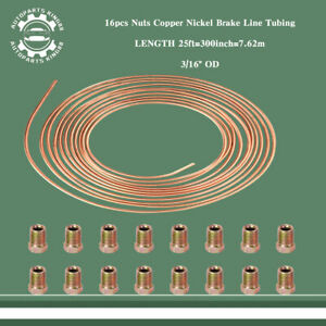 2 Roll 25ft Gold Steel Copper Nickel Plating 3 16 Brake Line Tubing 16pcs Nuts