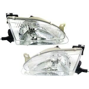 Headlight Set For 98 2000 Toyota Corolla Sedan Left And Right With Bulb 2pc