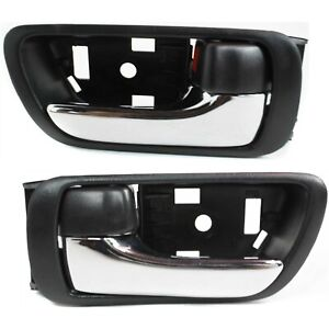 Door Handle Set For 2002 2006 Toyota Camry With Black Bezel Front Or Rear 2pc