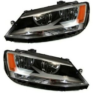 Black 2011 2018 Volkswagen Vw Jetta Headlights Headlamps Replacement Left right