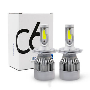 2 X Cob H4 Led 200w 40000lm Car Headlight Kit Hi Lo Beam Auto Bulbs 6000k White