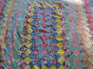 1930s Trip Around The World Cotton Quilt Top Hand Stitched Some Feed Sack Fabric