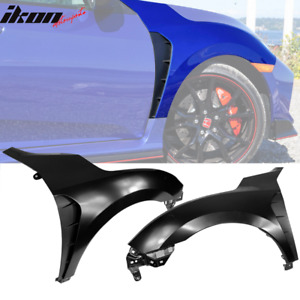Fits 16 19 Honda Civic Type r Style Steel Front Fender Flares Trim W Insert