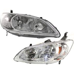 Headlight Set For 2004 2005 Honda Civic Lx Dx Ex Gx Value Package Hybrid Hx 2pc