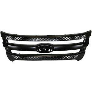 Grille For 11 14 Ford Explorer 13 14 Police Interceptor Utility Black