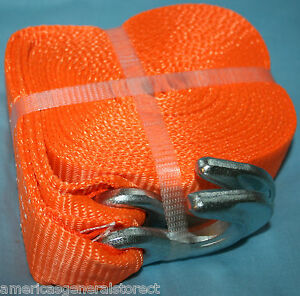 Tow Rope 2 Wide X 20 Long Heavy Duty Strap Orange Straps Towing 6 000 Lb