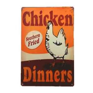 Chicken Dinners Vintage Rustic Retro Metal Sign