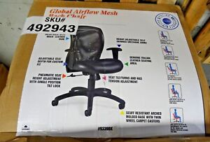 Global Airflow Leather Managers Office Chair Adjustable Arms Black 492943 New