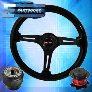 Quick Release Steering Wheel Black Center Black Wood Hub For 89 05 Eclipse