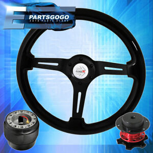 Quick Release Steering Wheel Black Center Black Wood Hub For 92 95 Civic