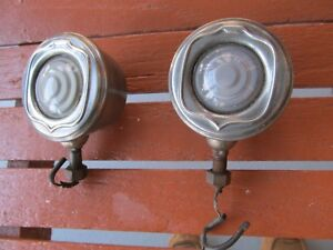 1920 S Pair Buick Fender Cowl Lamp Auto Light Frosted Glass Lens Nice