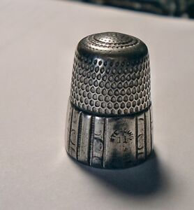 Antique Sterling Silver Sewing Thimble Simon Brothers Size 11