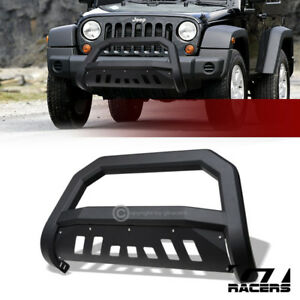 For 2007 2009 Jeep Wrangler Jk Matte Black Avt Edge Bull Bar Bumper Grille Guard