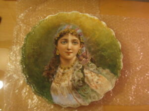 Antique Limoges Plate Charger Beautiful Woman Signed Jack