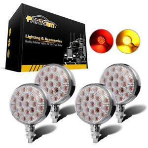 4x Red yellow 42 Led Truck Trailer Fender Signal Pedestal Stud Lights Clear Lens