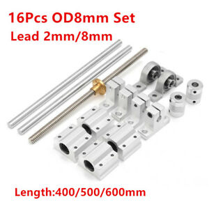 T8 Optical Axis 2 8mm Lead Screw Rail Shaft Support Pillow Block Bearing Set