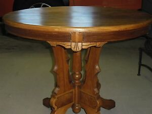 Eastlake Occasional Table Solid Walnut Round With Carved Legs Beautiful