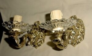 Chiselled Lion Heads Bronze Pair Wall Sconces W Crystal Glass Cut Bobeches Wired
