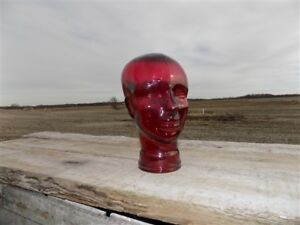 Ruby Red Glass Mannequin Display Head Art Deco Nouveau Men Hat Model Stand