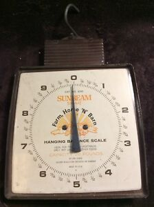 Vintage Sunbeam Metal Hanging Balance Scale Home Produce Farm 20 Lbs Nice