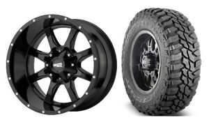 17x9 Moto Metal Mo970 Gloss Black Wheels Tires Package Mt 6x5 5 Toyota Tacoma