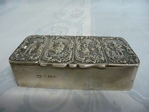 Antique Circa 1902 English Sterling Repousse Hinged Box