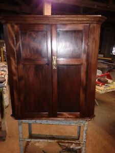 Beautiful Antique Mahogany C1800 S Hanging Wall Corner Cabinet Ready To Use
