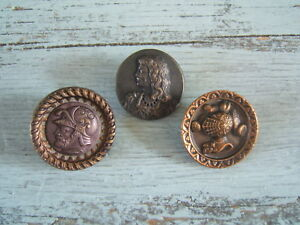 Lot Of 3 Antique Victorian Brass Picture Buttons Knights Armor Large 1 1 4 1 3 8