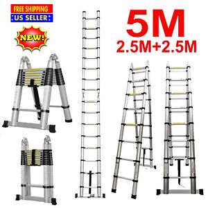 16 5ft Telescopic Folding Ladder Extendable Stepladder Aluminum 150kg 330lb Home