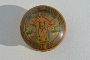 Hand Painted Wood Wooden Box Depicting A Lady Pouring Water Into Ocean Folk Art