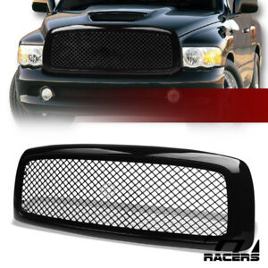 For 2002 2005 Dodge Ram Glossy Blk Mesh Front Hood Bumper Grill Grille Guard Abs