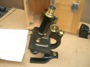 Vintage Spencer Microscope With Wood Case And Key