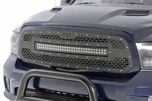 Rough Country Mesh Grille 30 Led Light Bar Dodge Ram 1500 2013 2018 Black Back