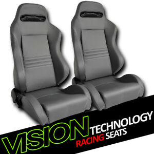 T R Type Gray Stitch Pvc Leather Reclinable Racing Bucket Seats Sliders L R V14