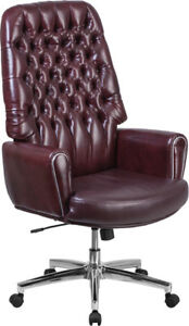 Closeout Burgundy Or Brown Leather Button Tufted Traditional Office Desk Chairs