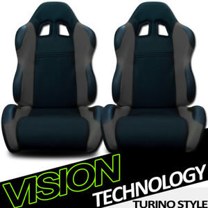 Ts Sport Blk gray Cloth Fabric Reclinable Racing Bucket Seats W sliders Pair V03