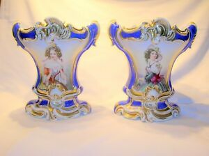 French Old Paris Pair Of 19th C Hand Painted Portrait Vases 11 H B Offer
