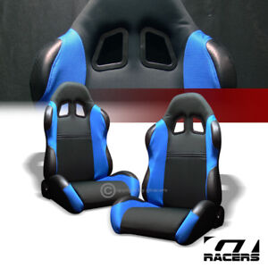 2x Universal Ts Blk Blue Cloth Leather Reclinable Racing Bucket Seats Slider G01