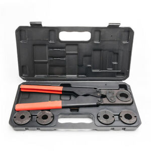 Home Manual Pex Pipe Crimping Tool Kit Labor saving Sturdy W Case Box 5 Jaws