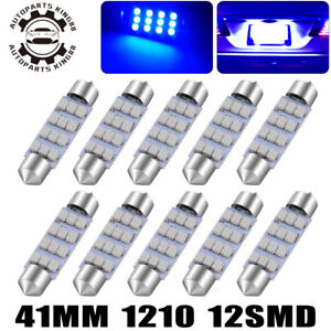 10x Ultra Blue 41mm Festoon 12smd Led Map Dome Interior Light Bulb 578 211 2 214