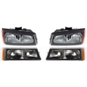 2003 2007 Chevy Silverado Black Headlights bumper Parking Lights Lamps 4pc