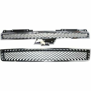 Grille For 2007 2014 Chevrolet Tahoe Set Of 2 Upper And Lower Plastic