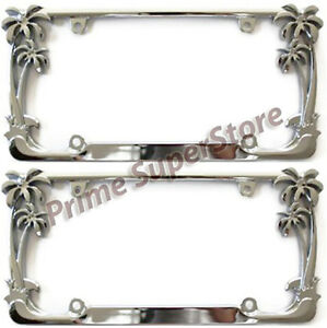 2 Pack Chrome Metal Tropical Palm Tree Car License Plate Frame Tag Holder Pair