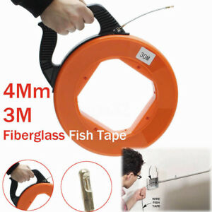 30m 98 4ft Fiberglass Fish Tape Puller Wire Pulling Conduit Rodder With Reel