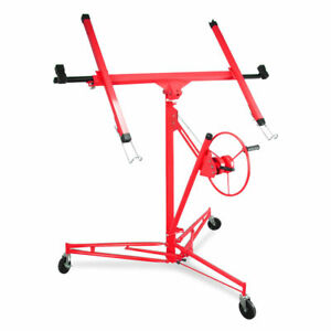 Lift Panel Hoist Dry Wall Jack Red Steel Large Cradle Lifter Construction Tool