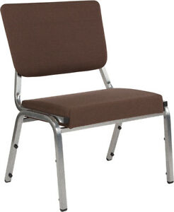 Lot Of 20 Heavy Duty Brown Antimicrobial Fabric Bariatric Stack Chairs